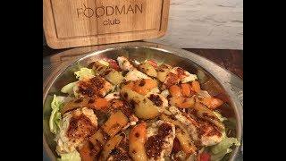 Салат с куриным филе и сладким перцем на гриле