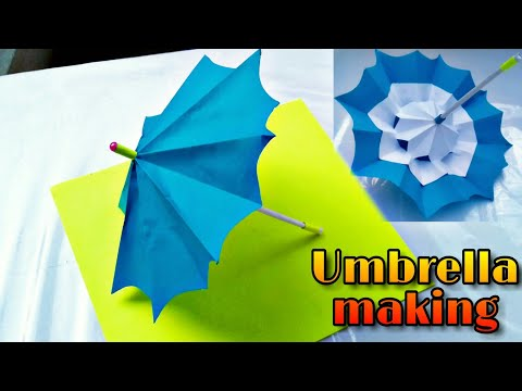how to make umbrella ; how to make paper working umbrella;how to make umbrella which closes & opens