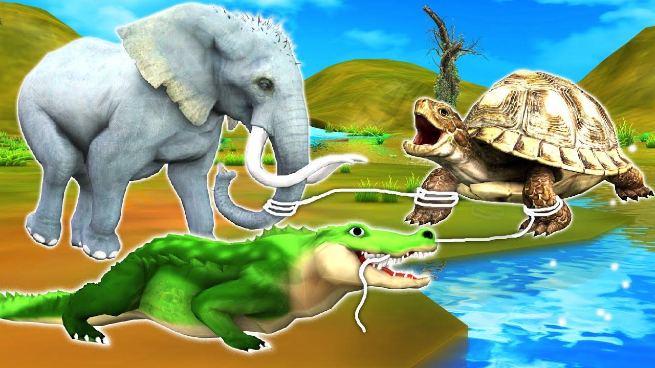 दो दोस्तों हाथी मगरमच्छ और कछुआ हिंदी कहनिया Hindi Kahaniya - Panchatantra Stories - 3D Hindi Kahani