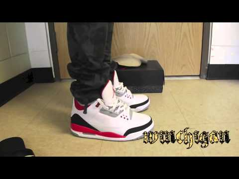 2013 Air Jordan Retro 3 Fire Red On Feet Review - YouTube 288ed593c