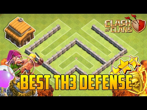 Clash Of Clans - BEST Town Hall 3 Defense (CoC TH3) Farming Base + DEFENSE REPLAYS