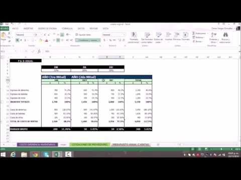 Presupuesto anual de costos de entradas