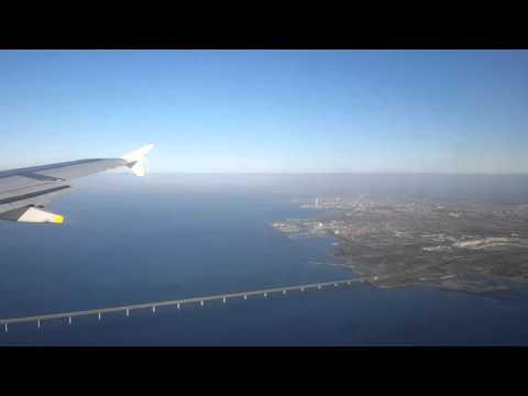 Sensational approach to Copenhagen, fly-by along Oresund bridge