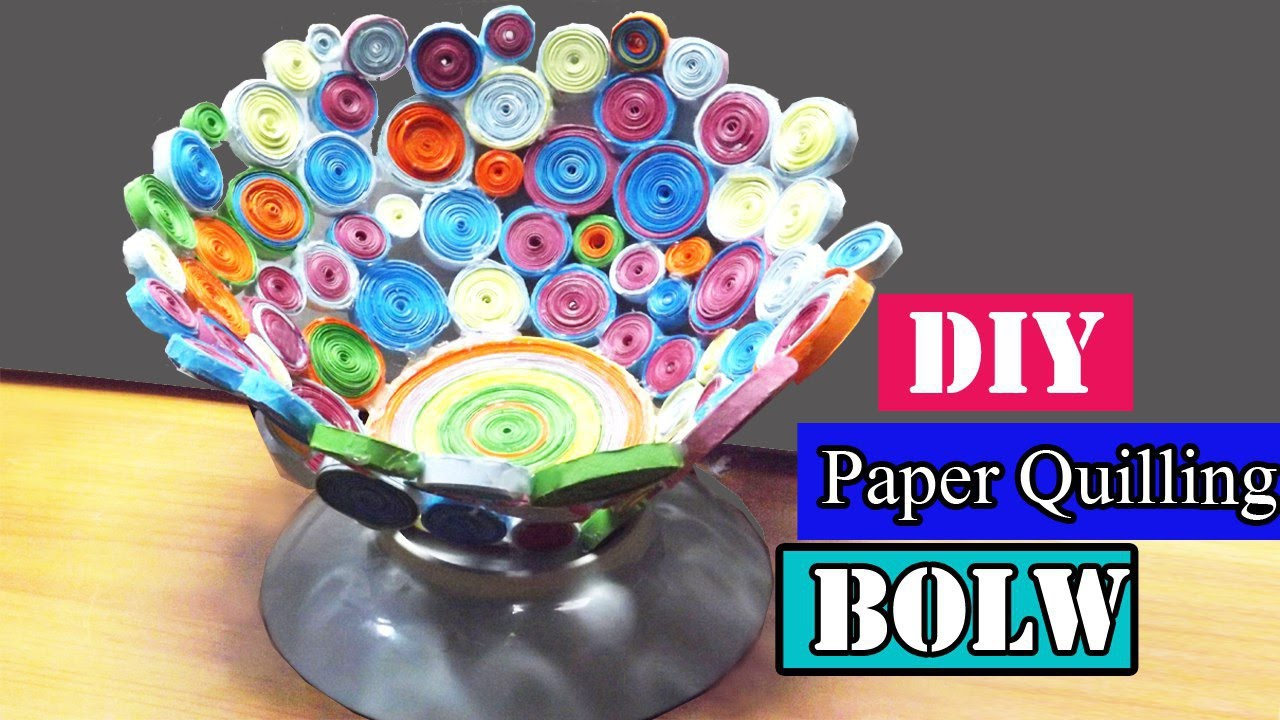 Craft with paper diy paper quilling bowl youtube for Diy paper bowl