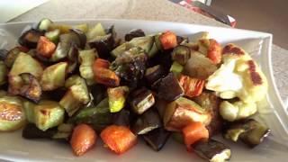"""Запеченные овощи в духовке  и турецкий десерт """"tavuk göğsü""""."""