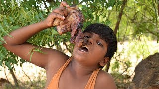 Primitive Technology - Cooking and Eating Pig Meat on a Rock Lunch | Pig Meat Roast | Wild Food