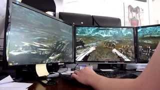 Skyrim Triple Monitor Max Settings FPS vs No Antialiasing FPS (HD)