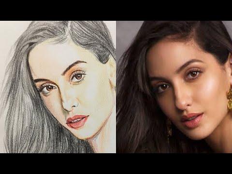 Sketch tutorial of actress | Nora Fatehi | Naveen's Arts | Pencilman thumbnail