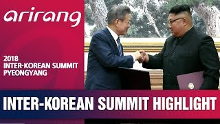 [2018 INTER-KOREAN SUMMIT PYEONGYANG] MOON, KIM EXCHANGE MILITARY AGREEMENT AFTER SIGNING DEAL