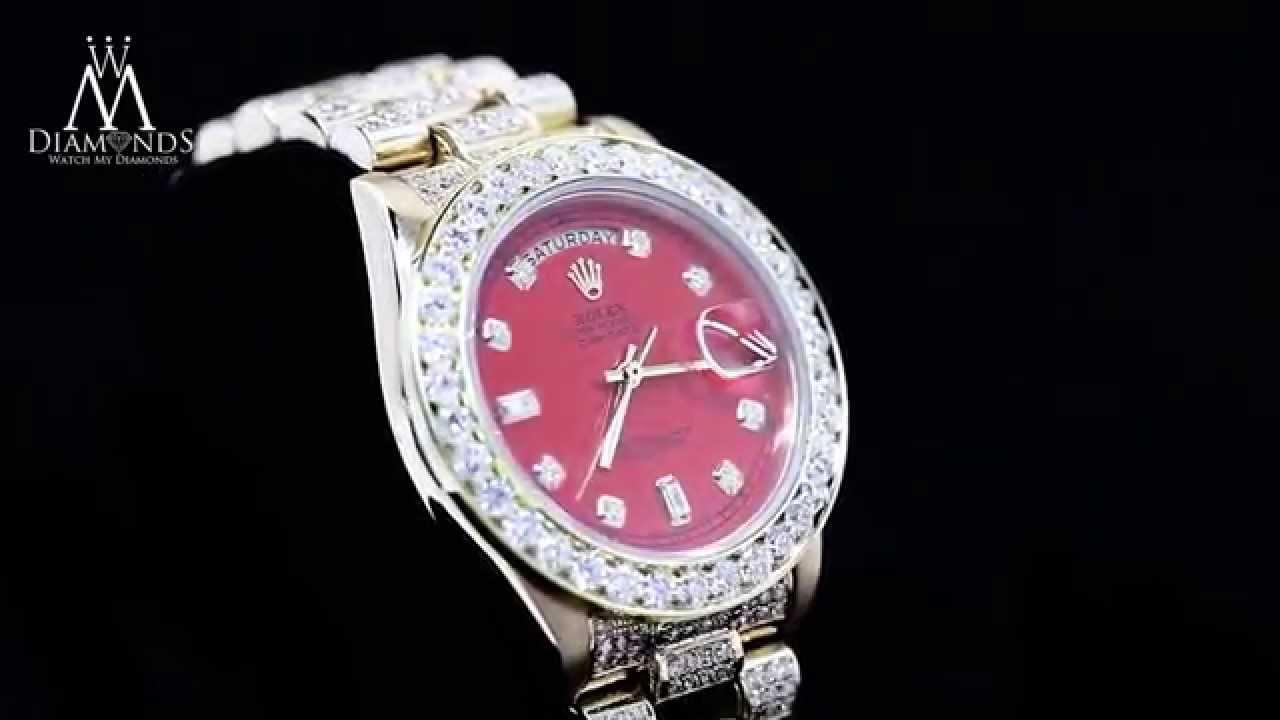 Diamond rolex replica - Diamond Rolex Presidential 18k Yellow Gold 18038 Single Quick Set Watch Red Dial
