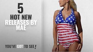 Hot New Mae Women Clothing [2018]: Summer Mae Women American Stars and Stripes Flag Open-Back Red