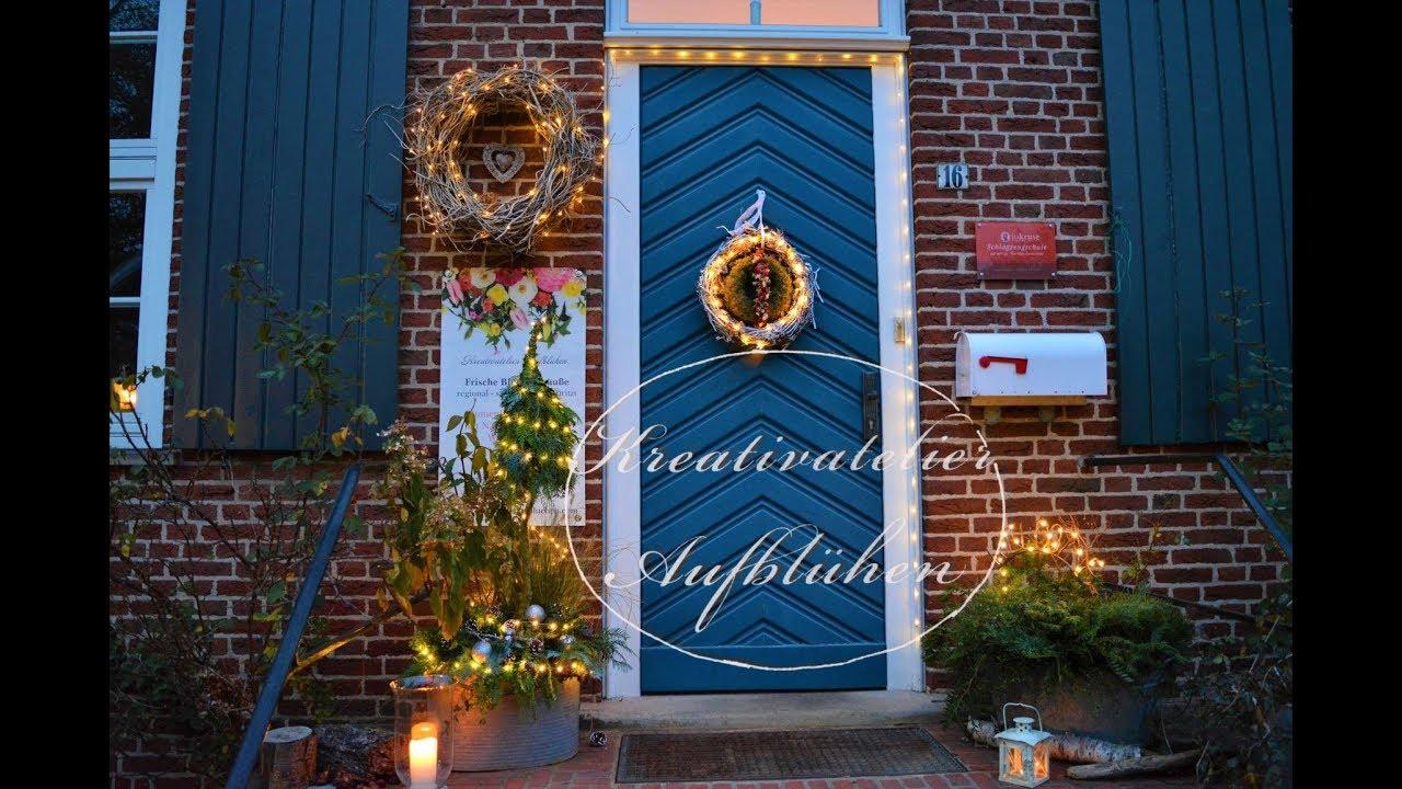Weihnachtsdeko An Der Haustür.Lichter Und Weihnachtsdeko Vor Der Haustür Koniferen Weihnachtsbaum Selber Machen