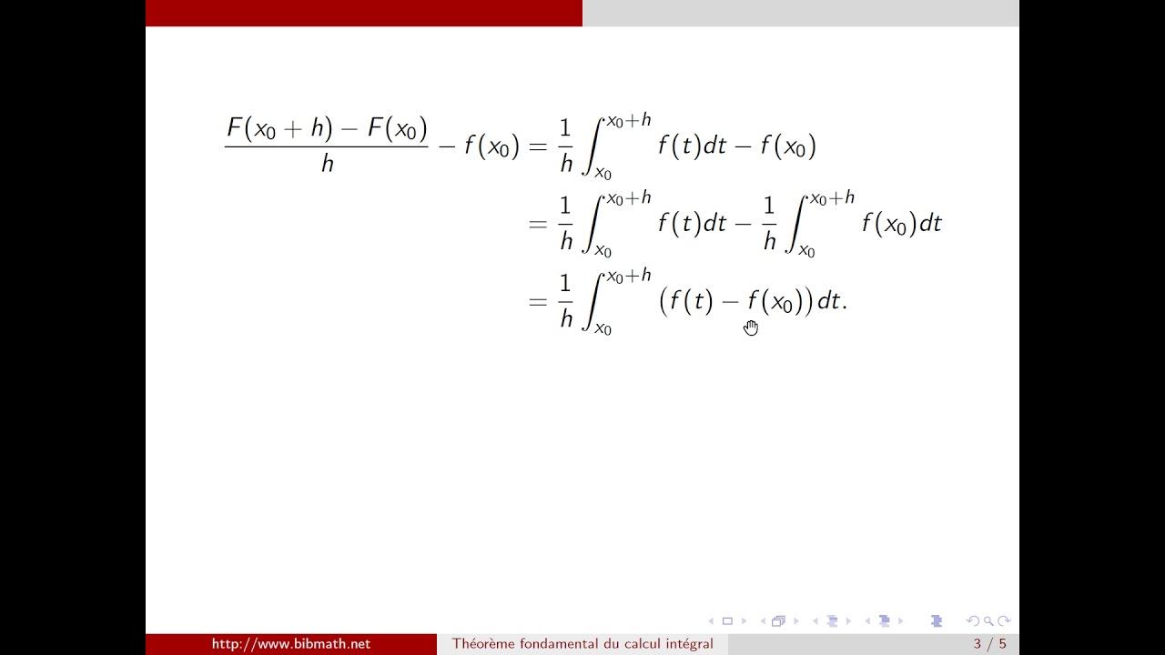 th u00e9or u00e8me fondamental du calcul int u00e9gral