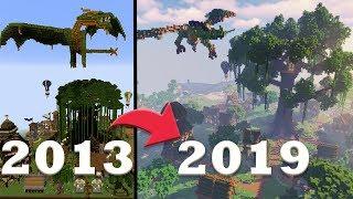 Transforming my FIRST Minecraft Kingdom | 2013 vs 2019 | Elven God Tree + Forest Dragon
