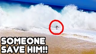 TOURISTS CAUGHT IN HUGE WAVES!! Cabo Sand Lucas Mexico