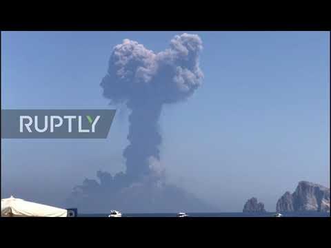 Italy: Volcanic eruption on Stromboli island spews ash and smoke into sky