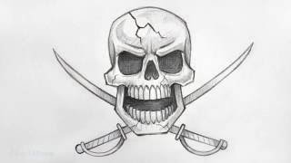 How to Draw a Pirate Skull (with Swords) ✔