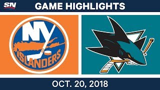 NHL Highlights | Islanders vs. Sharks - Oct. 20, 2018