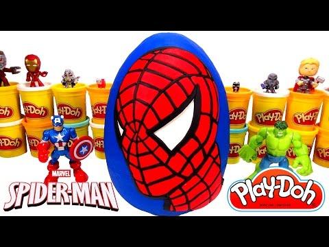 Huevo Sorpresa Gigante de Spider-Man (Hombre Araña) en Español Plastilina Play Doh