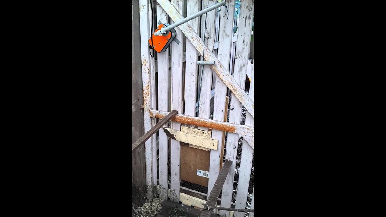 Diy automatic chicken coop door youtube for D20 chicken coop motor door