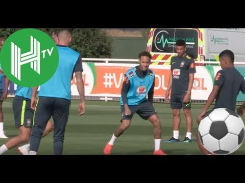 Neymar and Brazil train at Tottenham as they prepare for World Cup