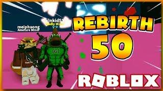(3 CODES) ROBLOX   WHAT HAPPENS WHEN WE REBIRTH 50?   Mining Simulator