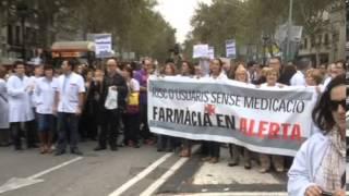 Farmacias en huelga, manifestación en Barcelona