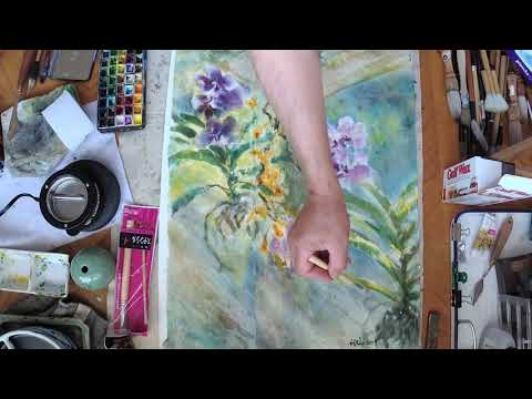 learning watercolor batik on Mulberry Paper with Henry Li