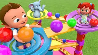 Colors for Children Learn with Little Babies & Elephant Fun Play Triangle Slider Color Balls Toy 3D