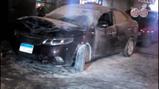 حريق سيارة ملاكي بالصدفة بجوار دار القضاء العالي بوسط البلد