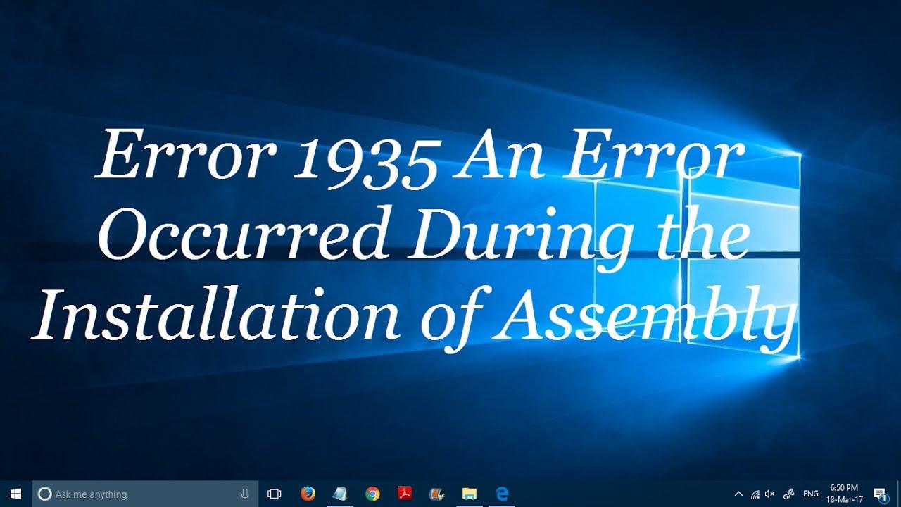 how to fix error 1935