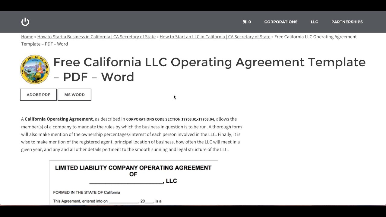 """The parties to this agreement hereby agree to form the company pursuant to the provisions of the delaware limited liability company act, as amended (the """"act""""),. Free California Llc Operating Agreement Template Pdf Word Youtube"""