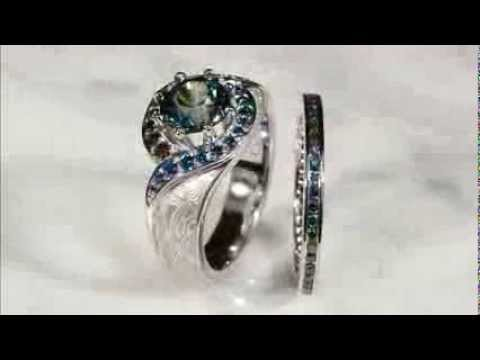 Blue Green Diamond Engagement & Wedding Rings