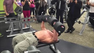 150lb Dumbbell Bench Press For REPS! | Anytime Fitness Markham, ON