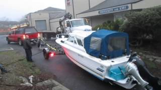 Boats Falls off of Trailer  1