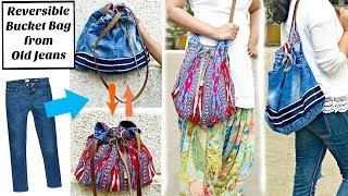 DIY: Reversible Bucket Sling Bag from Old Jeans | Reuse old Denims