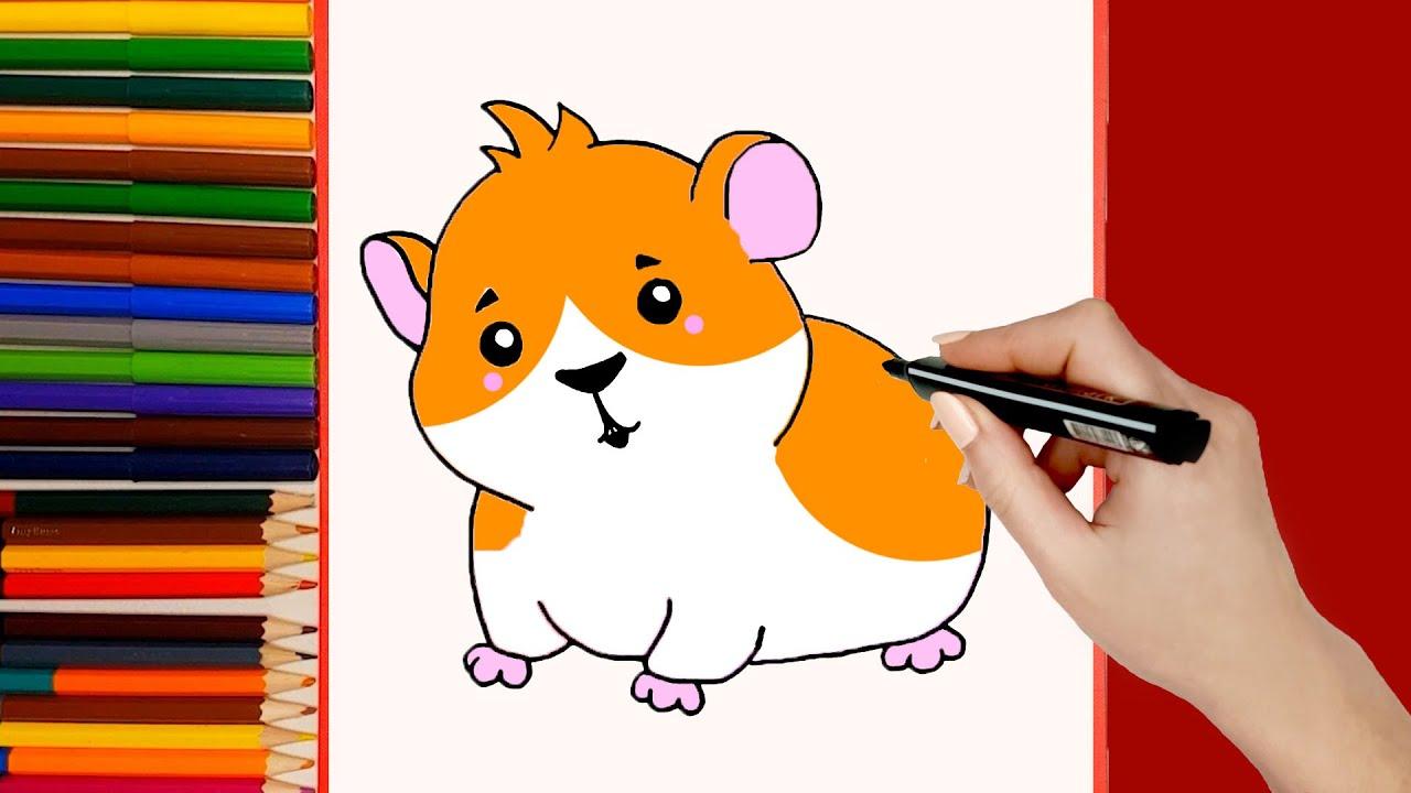 Cómo dibujar Hámster para niños. Dibujo de animales para niños fácil Hámster
