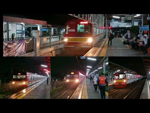Kompilasi Kereta KRL Commuter Line di Stasiun Depok.Trains at the Depok Station.