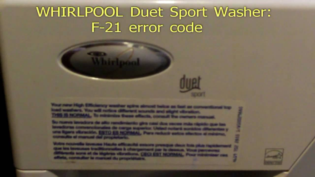 Whirlpool Duet Sport F21 Error Code Fix Youtube