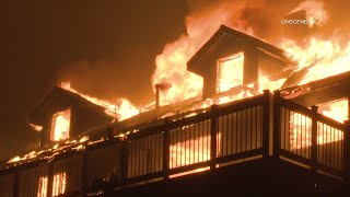 Valley Fire Explodes Overnight As Firefighters Work To Protect Structures