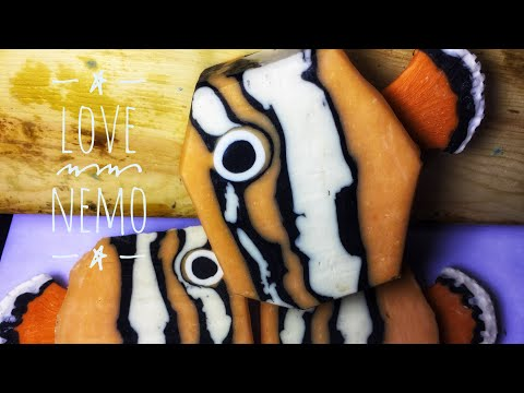 Things Galore | Soap Making a Clownfish Soap inspired by Nemo with soap dough embed