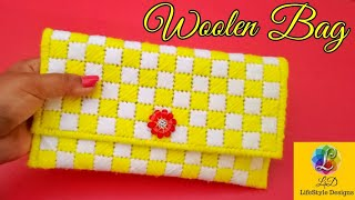 How to make a woolen ladies hand bag Or Purse Using Plastic canvas | Best out Of waste Craft