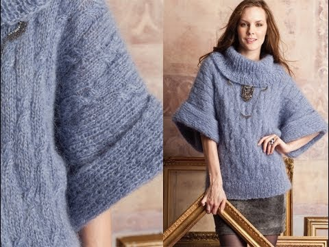24 Cowlneck Sweater, Vogue Knitting Fall 2012 - YouTube