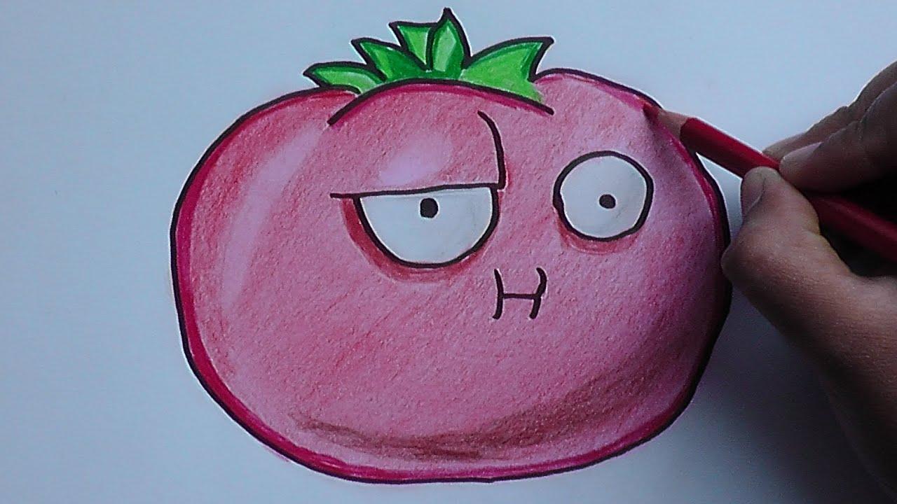 Dibujando y coloreando a Tomate (Plantas vs Zombies