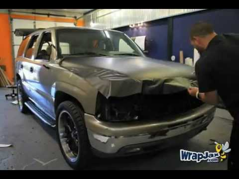 Time Lapse Matte Black Chevy Tahoe vehicle wrap for ...