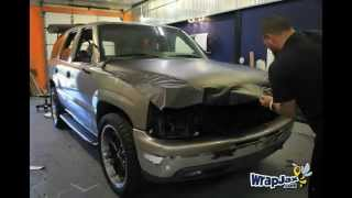 Time Lapse Matte Black Chevy Tahoe vehicle wrap for MirskyMedia