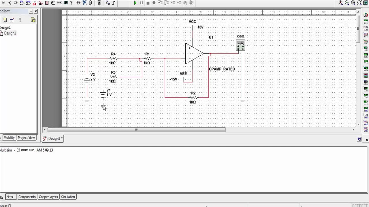 Inverting 741 Amplifier Multisim Circuit Op Amp Summing Simulation Using Youtube 1920x1080
