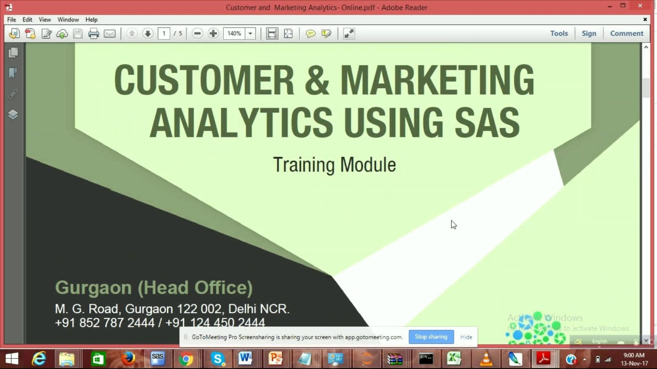 Customer & Marketing Analytics using SAS Training Courses Online
