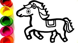 Rainbow horse Warna Warni Belajar Menggambar dan Mewarnai untuk Anak
