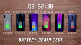 Mi A3 vs Realme 5 Pro vs Note 7 Pro vs Vivo Z1x vs A50s vs Poco F1 | Battery Drain Test